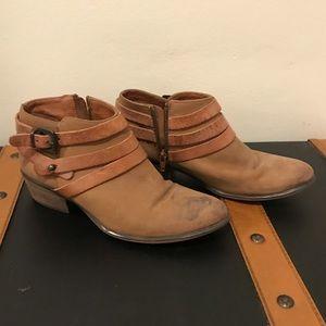 Steve Madden brown buckle ankle booties